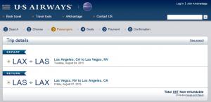 LA to Vegas: US Airways Booking Page