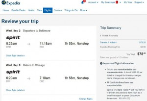 Chicago-Baltimore: Expedia Booking Page