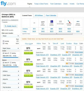Chicago-Baltimore: Fly.com Search Results