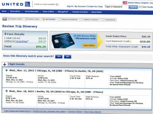 Chicago-Boston: United Booking Page