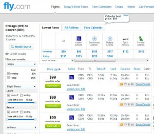 Chicago-Denver: Fly.com Search Results