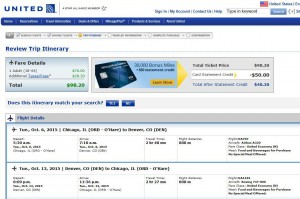 Chicago-Denver: United Booking Page