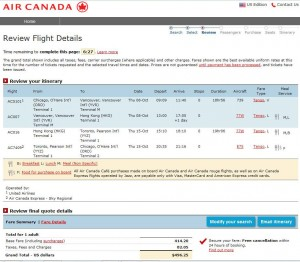 Chicago-Hong Kong: Air Canada Booking Page