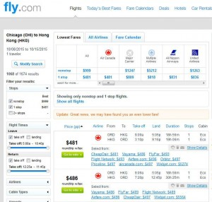Chicago-Hong Kong: Fly.com Search Results