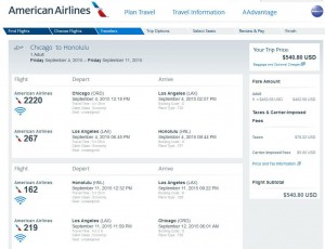 Chicago-Honolulu: American Booking Page