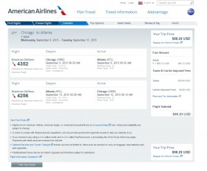 Chicago to Atlanta: AA Booking Page