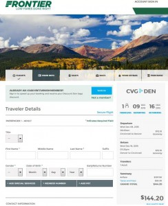 Cincinnati-Denver: Frontier Booking Page