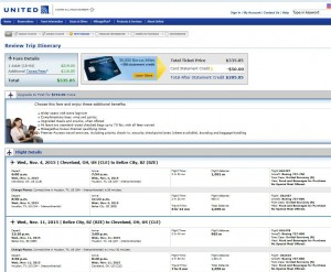 Cleveland-Belize City: United Booking Page