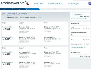 Cleveland-Los Angeles: American Airlines Booking Page