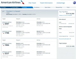 Cleveland-New York City: American Airlines Booking Page