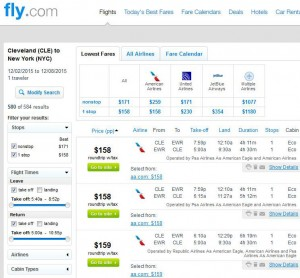 Cleveland-New York City: Fly.com Search Results