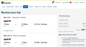 Cleveland-Orlando: Expedia Booking Page