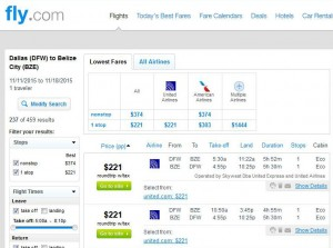 Dallas-Belize City: Fly.com Search Results