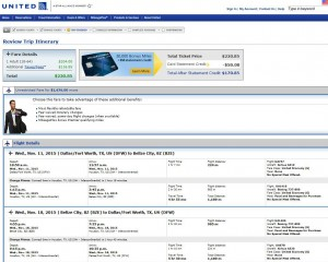 Dallas-Belize City: United Booking Page