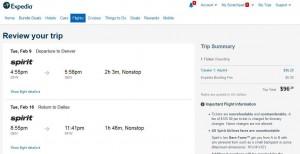 Dallas-Denver: Expedia Booking Page