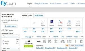 Dallas-Denver: Fly.com Search Results