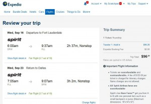 Dallas-Fort Lauderdale: Expedia Booking Page