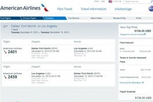 Dallas-Los Angeles: American Booking Page