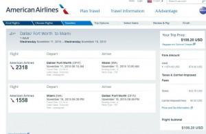 Dallas-Miami: American Booking Page