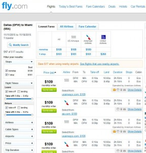 Dallas-Miami: Fly.com Search Results