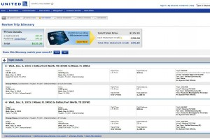 Dallas-Miami: United Booking Page