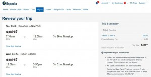 Dallas-New York City: Expedia Booking Page