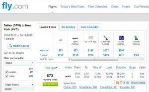 Dallas-New York City: Fly.com Search Results