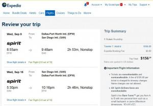 Dallas-San Diego: Expedia Booking Page
