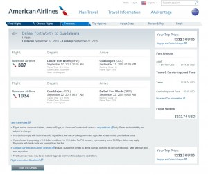 Dallas to Guadalajara: AA Booking Page