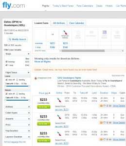 Dallas to Guadalajara: Fly.com Results