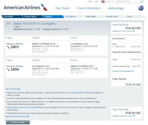 Dallas to Los Angeles: AA Booking Page