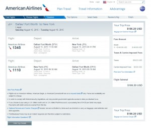 Dallas to New York City: AA Booking Page