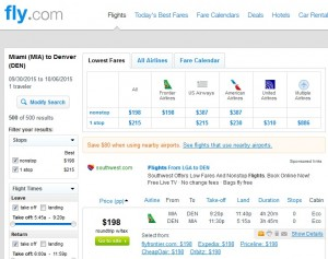Miami to Denver: Fly.com Results