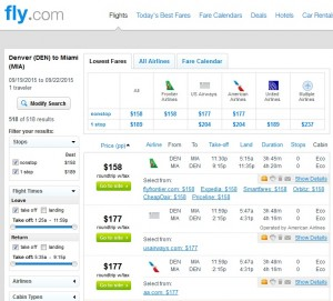 Denver to Miami: Fly.com Results