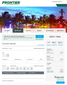 Denver to Miami: Frontier Booking Page