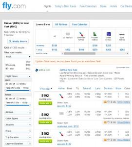 Denver to New York City: Fly.com Results