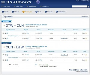 Detroit-Cancun: US Airways Booking Page