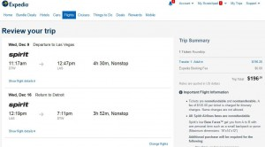 Detroit-Las Vegas: Expedia Booking Page