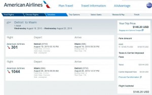 Detroit-Miami: American Booking Page