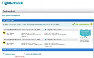 Detroit-New Orleans: Flight Network Booking Page