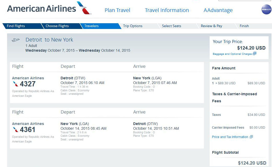 125 Detroit To From New York City Nonstop R T Fly