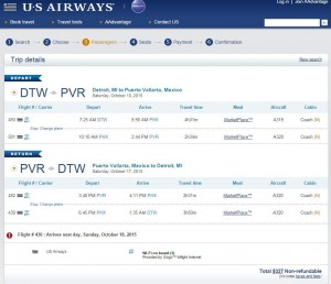 Detroit-Puerto Vallarta: US Airways Booking Page