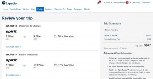 Houston-Chicago: Expedia Booking Page