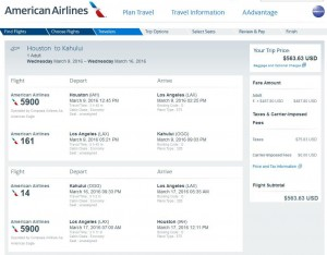 Houston-Maui: American Booking Page