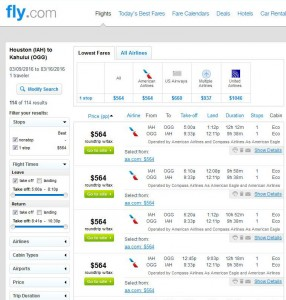 Houston-Maui: Fly.com Search Results