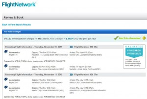 Houston-Medellin: FlightNetwork Booking Page