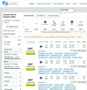 Houston-Medellin: Fly.com Search Results