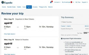 Houston-New Orleans: Expedia Booking Page