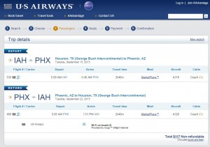 Houston to Phoenix: US Airways Booking Page