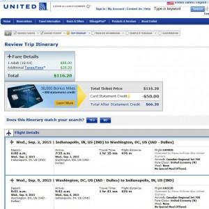 Indianapolis-Washington, D.C.: United Booking Page